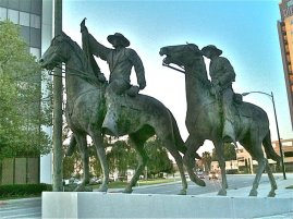 "[File photo] ""Fallon on Horse"": A once controversial statue of Thomas Fallon, now on display at Pellier Park, a small triangular area where West Julian and West St. James streets merge. See the picture of the Fallon House for more history about Thomas Fallon. In 1991 this statue was subject to protest by some Chicano/Latino activists who claimed that Fallon captured San Jose by violent force in the Mexican-American war (1846). The account has been contended and some believe that it was actually a small band of some 20 men or so that led the victory somewhat undramatically, although with tremendous significance. At any rate, Fallon represents an ""imperial"" legacy to some natives of the area, so the statue was hidden in storage for several years, before it was removed and placed here in the year of 2002. Actually, what may have been more significant and controversial was Fallon's rule over the city in the aftermath of his victory; that is, considering his relationship with the city's ""Californio"" (early Spanish or Mexican) residents and even his own wife."