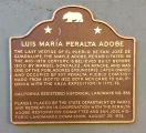 Landmark plaque for the Luis María Peralta Adobe in downtown San Jose.