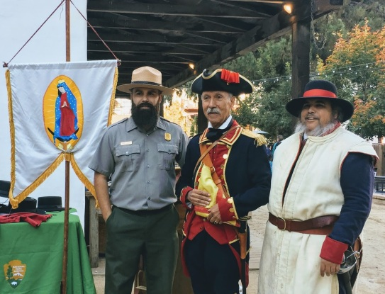 Miguel Marquez of the National Park Service is a Bay Area native and works on the Juan de Anza Trail system. He appears here at the adobe with volunteer actors in the traditional dress of the colonial era.